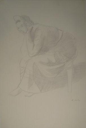 Monotipo Holy - Sitzende junge Frau, den Kopf auf die Unterarme mit den Händen gestützt.