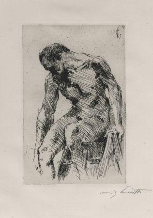 Aguafuerte Corinth - Sitzender männlicher Akt