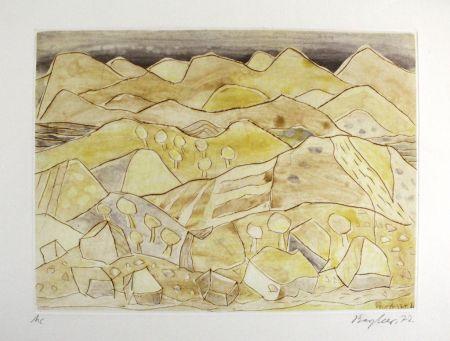 Aguafuerte Y Aguatinta Bargheer - Sizilianische Landschaft / Sicilian Landscape