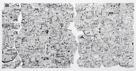Serigrafía Fahlström - Sketch for World Map from the Peace Portfolio
