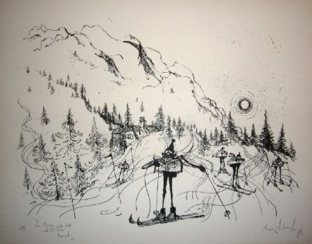 Litografía Searle - Ski