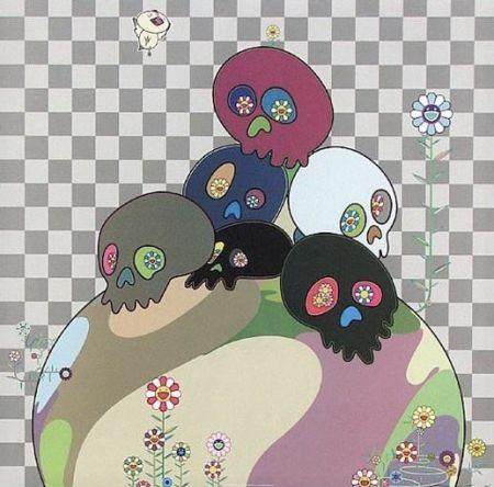 Litografía Murakami - Skulls rock