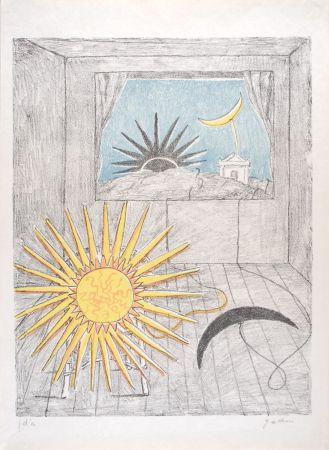 Litografía De Chirico - Sole e luna in una stanza