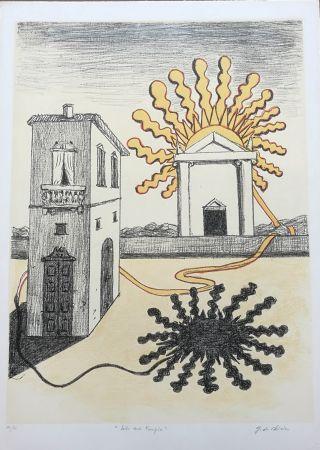 Litografía De Chirico - Sole sul tempio
