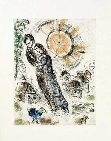 Grabado Chagall - Soleil aux amoureux