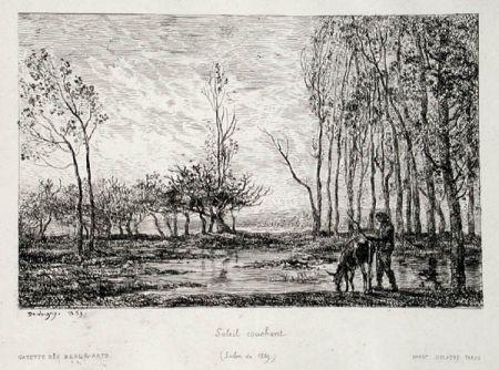 Grabado Daubigny - Soleil couchant