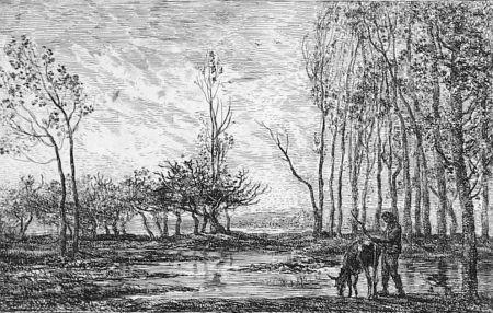 Aguafuerte Daubigny - Soleil couchant