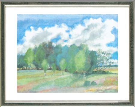 Litografía Grass - Sommerlandschaft mit Birken