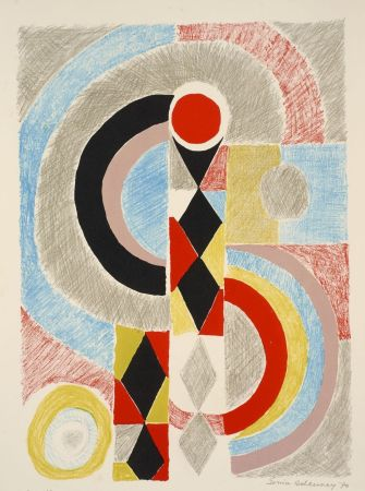 Litografía Delaunay - Sonia Delaunay (1885-1979). Totem. Lithographie signée. 1970.