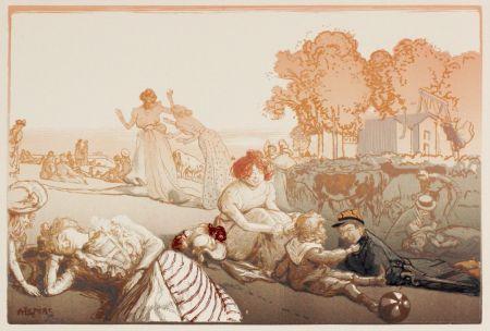 Grabado En Madera Lepere - Sonntag vor den Thoren von Paris  (Bucolique moderne)