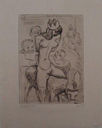 Grabado Gromaire - Sorcière sur un âne
