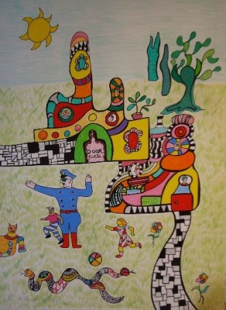 Litografía De Saint Phalle - Sortie d'école