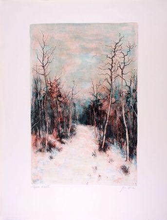 Litografía Gantner - Sous la Neige - Under Snow