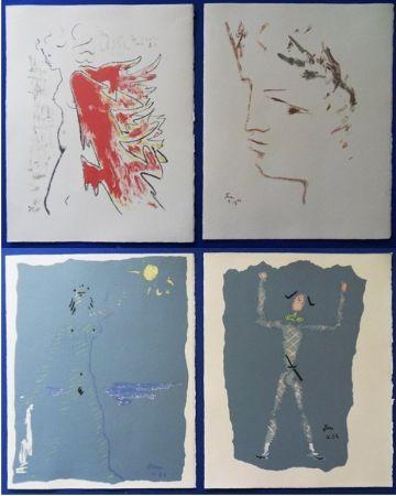 Litografía Cocteau - Sous le manteau de feu
