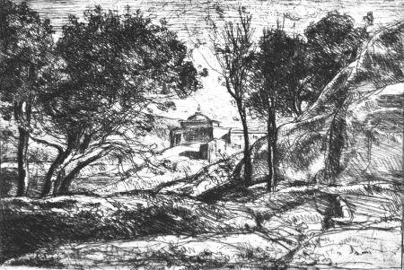 Aguafuerte Corot - Souvenir de Toscane