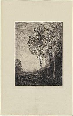 Grabado Corot - Souvenir d'Italie, in