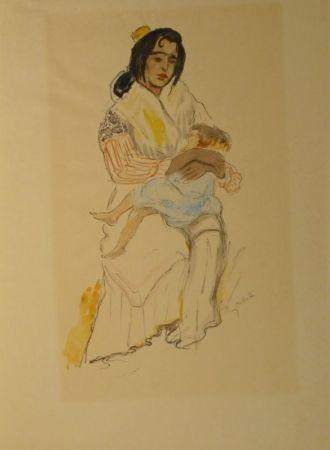 Litografía Orlik - Spanische Zigeunerin mit Kind, Sevilla