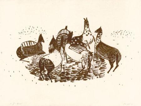 Litografía Music - Spielende Pferde
