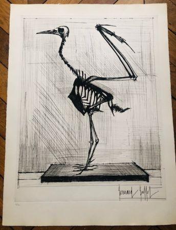 Grabado Buffet - Squelette d'oiseau