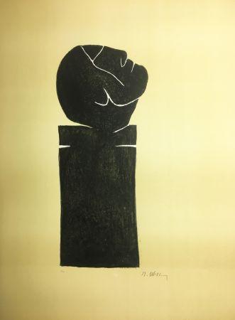 Litografía Ubac - STÈLE TÊTE LEVÉE . Lithograpie originale signée au crayon (1982).