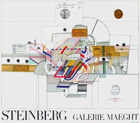 Cartel Steinberg - STEINBERG 1970. Galerie Maeght. Affiche en lithographie.
