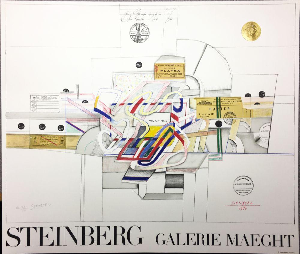 Litografía Steinberg - STEINBERG 1970. Galerie Maeght. Lithographie signée par l'artiste.