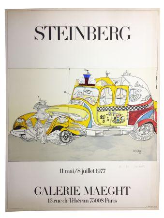 Litografía Steinberg - STEINBERG 1977. TAXI. Galerie Maeght. Épreuve de luxe signée.
