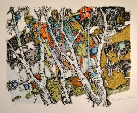 Litografía Carigiet - Sternsinger  (Die Drei Könige hinter Birken)