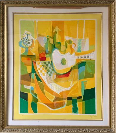 Aguafuerte Y Aguatinta Mouly - Still Life in Yellow with Guitar