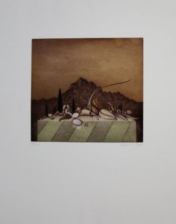 Aguafuerte Y Aguatinta Peer - Still Life Landscape