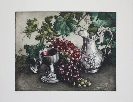 Aguafuerte Y Aguatinta Rusch - Stilleben mit Wein / Still Life with Wine