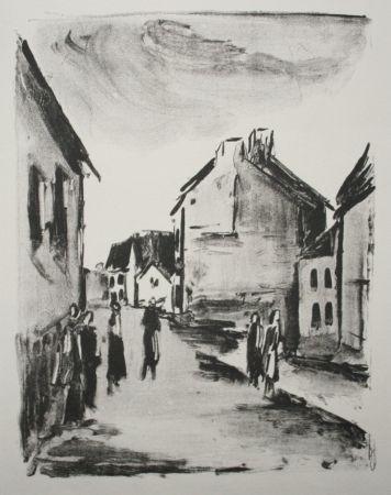 Litografía Vlaminck - Street Scene