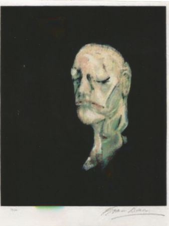Litografía Bacon - Study portrait after the life mask of William Blake
