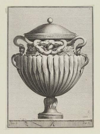Grabado Petitot - Suite des vases tirée du cabinet de Monsieur...