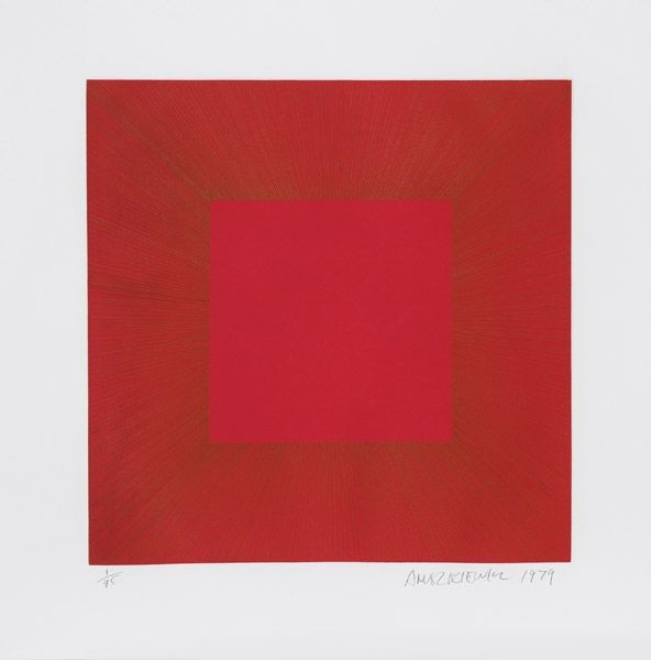 Aguatinta Anuszkiewicz - Summer Suite (Red with Gold I)