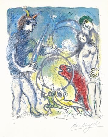 Litografía Chagall - Sur la Terre des Dieux (In the Land of the Gods): Anacreon