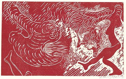 Linograbado Höckelmann - Surferin (Rot)