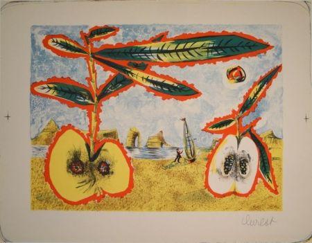 Litografía Lurcat - Surreale Landschaft mit zwei halben Äpfeln, Zweig und Blättern