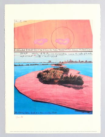 Litografía Christo - Surrounded islands, project for Biscane Bay