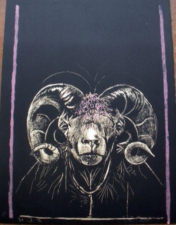 Litografía Sutherland - Tête de bèllier (de face)