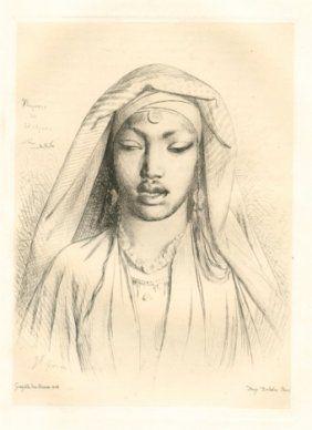Grabado Gérôme - Tête de negresse du Hedjaz