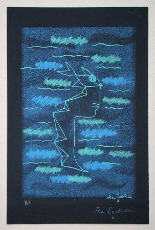 Litografía Cocteau - Tête d'homme aux yeux poisson