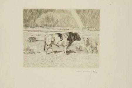Grabado Lunois - Taureau dans un pré / Bull in a Meadow