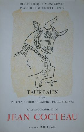 Litografía Cocteau - Taureaux