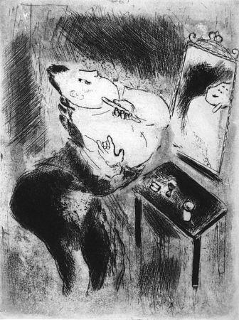 Aguafuerte Chagall - Tchitchikov Se Rase