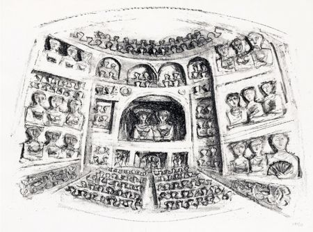 Litografía Campigli - Teatro