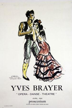 Litografía Brayer - Teresina et Roland Petit