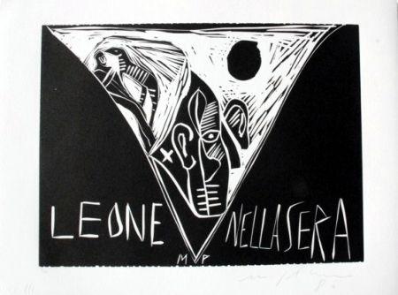 Linograbado Paladino - Terra tonda africana 1 - Leone nella sera