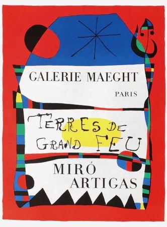 Cartel Miró - TERRES DE GRAND FEU. MIRO ARTIGAS. Exposition 1956.