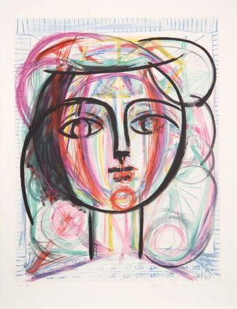 Litografía Picasso - Tete de Femme
